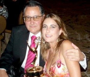 Susana clutching her first Emmy with her proud father Agustin Rivera Torres