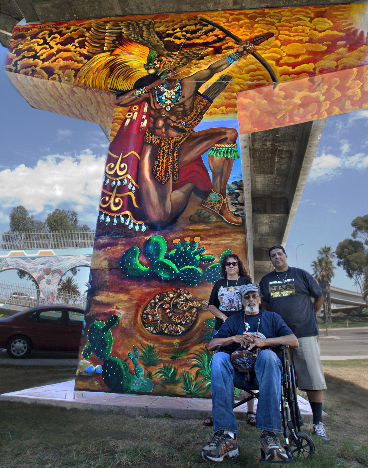 Chicano park artists recapture the fiery glory of vidal m for Chicano mural art