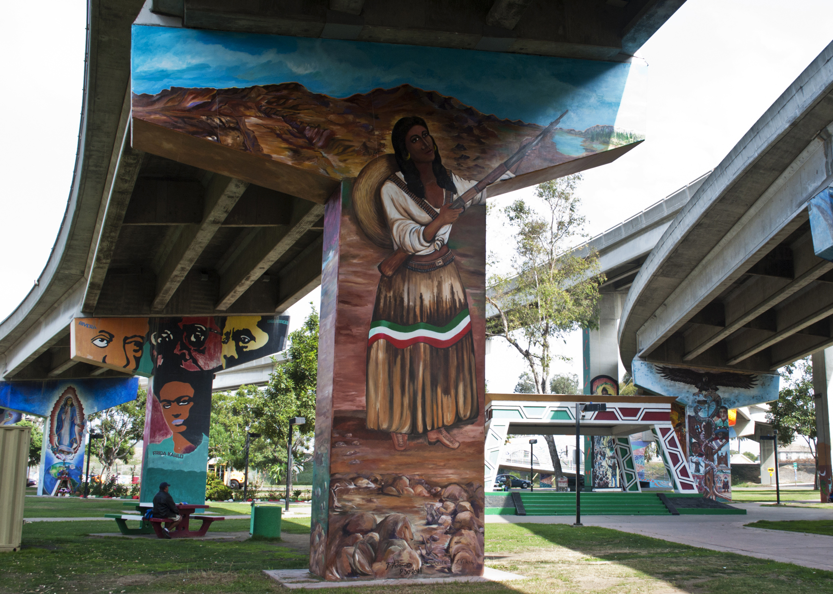 Southwestern college students tour chicano park la for Mural una familia chicana