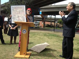 "The Mayor Bob Filner was presented with a special work of art by Mario Torero at the event, titled ""Laura"" based on the image of Laura Rodriguez, who is considered the Mother of Chicano Park."