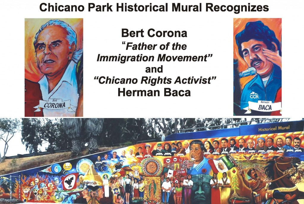"'Historical Mural': Original 1973 artists who repainted the mural in 2012: Guillermo ""Yermo"" Aranda, Salvador Barajas (Lead Artist), Armando Nuñez, Victor Ochoa, and Guillermo Rosette. Assistance from Salvador Barajas, Jr., Rayban Urbina, and Hector Villegas."