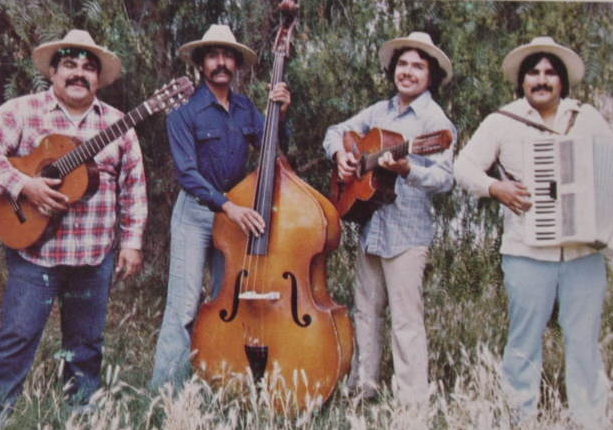 """Chunky and Los Alacranes back in the '70s (L to R), Ramon """"Chunky"""" Sanchez, Marco Antonio Rodriguez, Mario Aguilar and Ricardo Sanchez."""