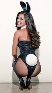 Raquel Pomplun in the iconic bunny outfit.