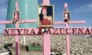 Crosses like this represent the vast number of women who have died at the hands of abusers in Juarez, Mexico