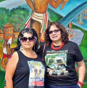Josephine Talamantez (right)  with Tommie Camarillo of the Chicano Park Steering Committee. Photo by Sande Lollis.