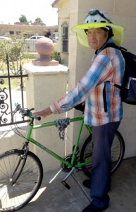 José Guadalupe Martinez with his bike.