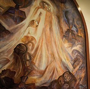 "The three-panel mural ""Triptico"" was rededicated in the brand new Montezuma Hall. This is the first of three panels, CREPUSCULO (Sunset)."