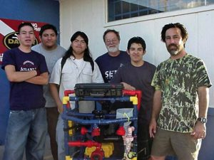 "(Left to right) Oscar Vazquez, Luis Aranda, Lorenzo Santillan, Allan Cameron, Cristian Arcega and Fredi Lajvardi beat the odds when they won a national robotics competition in 2004. Their journey was turned into a movie called ""Spare Parts."" (Courtesy: Fredi Lajvardi) Photo downloaded from VOXXI http://voxxi.com/"