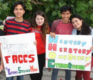 San Diego Unified students rally for Ethnic Studies in the classroom. From left to right: Luis Chavez, Aimee Molina, Kevin Sarabia and Lissa Garcia